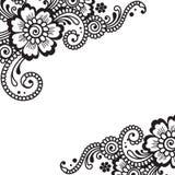 Canto do ornamento do vetor da flor Imagens de Stock Royalty Free
