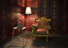 Canto do quarto com papel de parede vermelho Foto de Stock Royalty Free