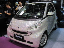 Canto Fair - China Import and Export Fair. This car is being exibited during the exhibition and the whole car body is decorated with crystal Stock Photos