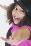 Canto felice che balla il bambino afroamericano della ragazza della corsa mista Immagine Stock Libera da Diritti