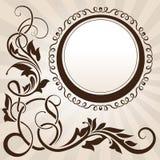 Canto floral do vintage de Brown com frame Imagem de Stock Royalty Free