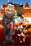 Canto natalizio di natale del cane e dell'uomo Immagini Stock Libere da Diritti