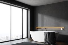 Canto panorâmico preto do banheiro Fotos de Stock Royalty Free