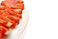 Canto vermelho do prato de peixes Fotografia de Stock