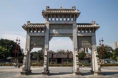 Canton, attrazioni turistiche famose del ` s della Cina, corridoio ancestrale di Chen, l'entrata al primo arco fotografie stock