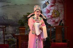 CANTON, CHINA – CIRCA JANUARY 2017: A singer of Cantonese opera during his performance. stock photos