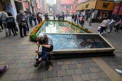 Canton, Cina - 26 febbraio: Strada di Pechino - centro Ganzhou Immagine Stock