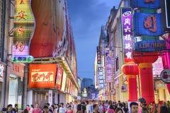Canton, strada dei negozi della Cina fotografia stock libera da diritti