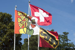 Canton Swiss flags Royalty Free Stock Images