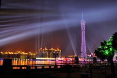 Canton Tower. Sparkling Guangzhou Tower at night. Asian Game, TV tower, highest TV tower, the highest building in Canton Royalty Free Stock Photo