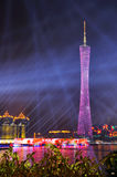 Canton Tower. Sparkling Guangzhou Tower at night. Asian Game, TV tower, highest TV tower, the highest building in Canton Stock Photography
