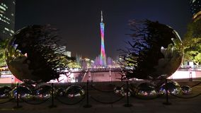 Canton Tower and fountain light show in Guangzhou stock footage