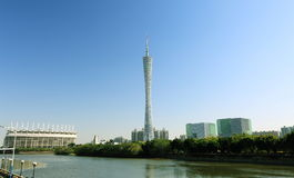 Canton tower Guangzhou. Canton Tower, formerly known as Guangzhou TV and Sightseeing Tower, is an observation tower in Guangzhou City, Guangdong (Canton) stock image