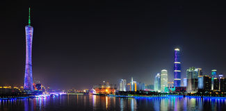 Canton tower & GZ International Finance Center. The night scene of Canton tower & The Guangzhou International Finance Center (GZIFC) at the riverside of Pearl Royalty Free Stock Photography