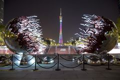 Nice Canton Tower in Guangzhou night scenes stock image