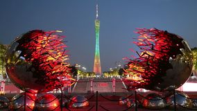 Canton Tower light show in Guangzhou stock video