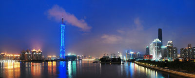 Canton tower in the night. Canton tower with blue lights in the blue night,guangzhou.panoramic of guangzhou tower royalty free stock images