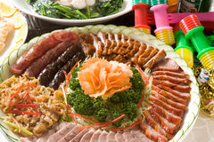 Cantonese barbecued Siu Mei plate. Cantonese barbecued Siu Mei.Sausage, roast duck, barbecued pork, goose and jellyfish Stock Images