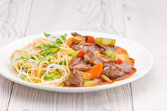 Cantonese Beef with Noodles Stock Image