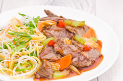 Cantonese Beef with Noodles Stock Photo