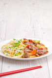 Cantonese Beef with Noodles Stock Photos