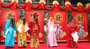 Cantonese opera. Five actors are performing cantonese opera on a stage Stock Photos
