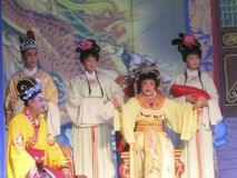 Cantonese Opera. Actors perform Cantonese opera in Hong Kong to celebrate a festival Royalty Free Stock Photos