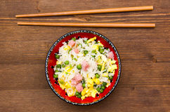 Cantonese rice on wood from above Stock Images