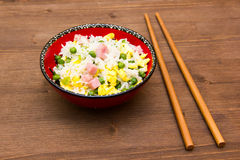 Cantonese rice on wood Stock Photography