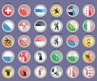 Cantons of Switzerland Flags. Set of icons. Cantons of Switzerland Flags Stock Image