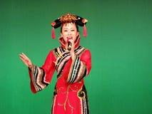 Cantor étnico no traje Manchu no festival de Banjin Fotografia de Stock Royalty Free