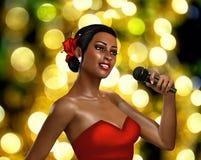 cantor 3d fêmea com microfone ilustração stock
