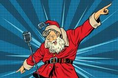 Cantor da estrela mundial de Santa Claus na fase ilustração royalty free