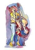 Cantor do jazz com contrabaixo Foto de Stock Royalty Free