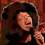 Cantor do jazz no fundo do grunge Fotografia de Stock Royalty Free