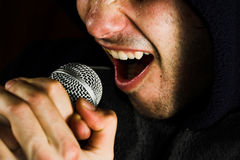 Cantor e microfone da música Fotografia de Stock Royalty Free