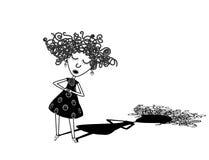 Cantor encaracolado da menina ilustração do vetor