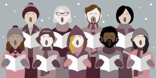Cantores da música de natal do Natal na neve ilustração stock