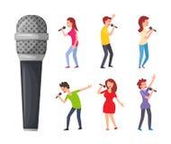 Cantores e microfone, homens e mulheres cantando ilustração royalty free