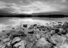 Cantos rodados del granito en la puesta del sol Fotografía de archivo