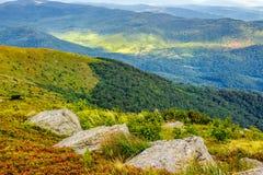Cantos rodados en el prado de la montaña Fotos de archivo libres de regalías