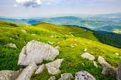 Cantos rodados en el prado de la montaña Imagen de archivo