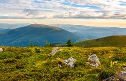 Cantos rodados en la colina herbosa en verano Foto de archivo libre de regalías