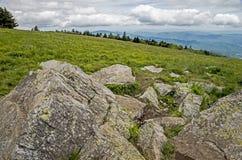 Cantos rodados enormes en el paisaje de Roan Mountain fotos de archivo