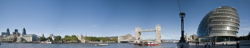 Cantral London panorama. Panorama of Central London, icluding famous landmarks as Tower bridge, The tower of London,City Hall and the Gherkin and visitors in the stock photos