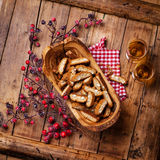 Cantucci in olive wood bowl Stock Image