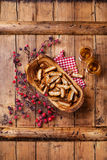 Cantucci in olive wood bowl Stock Photo