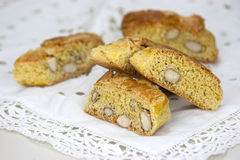 Cantucci on the white table Royalty Free Stock Images