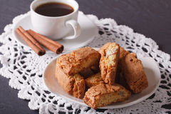 Cantuccini with almonds and coffee with cinnamon. horizontal Royalty Free Stock Images