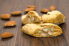 Cantuccini and almonds Stock Images